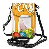 Bolso cruzado pequeño de piel sintética para teléfono móvil, diseño de huevos de Pascua para mujer