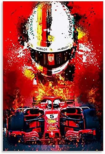 Adultos Puzzle 500 Piezas Niños Rompecabezas Campeón del mundo de F1 Sebastian Vettel Racing Driver y Picture Modern 500 Piece 20.4x15inch(52x38cm) Sin Marco