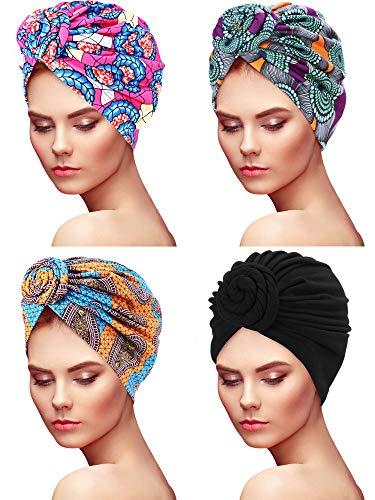 4 Piezas de Turbante de Mujeres Gorro de Dormir de Nudo con Patrn Africano Gorra Preatada (Circle Style)