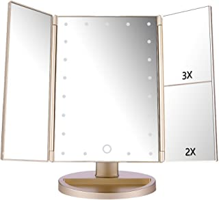 DeWEISN Tri-Fold Lighted Vanity Makeup Mirror with 21 LED Lights, Touch Screen and 3X/2X/1X Magnification Mirror, Two Powe...