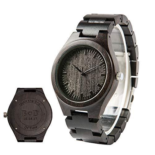 Herren Holz Armbanduhr für Männer Ebenholz aus Holz Graviert Uhr Herrenuhr Holzoptik Groomsmen Trauzeugen Geschenk Geschenk für Ehemann Papa - Engraved Wood Wrist Watch