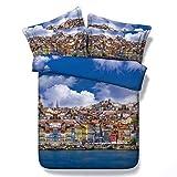 WPHRL Ciudad del Cielo Azul Juego de Ropa de Cama Funda de edredón 100% poliéster Funda de edredón con 2 Fundas de Almohada 220 x 240 cm