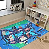 NEW Kids Rug Area Play Mat Car Carpet with Road 4' 11' X 2' 7' Map of USA--High Definition(HD) with Non-Slip Backing Nontoxic for Playroom Bedroom Classroom Educational Learning & Game