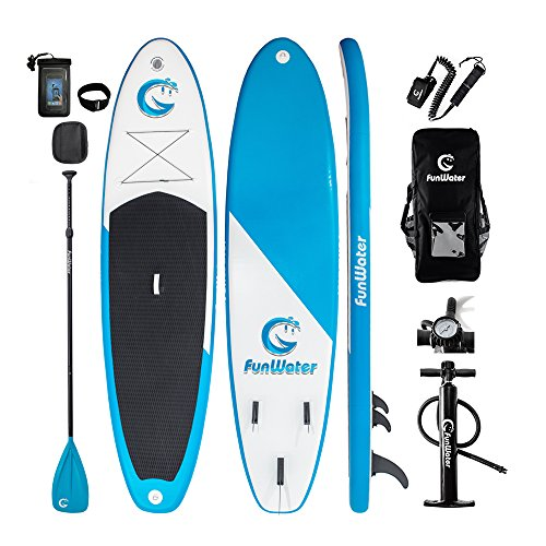 "FunWater All Round Paddle Board 11'length 33""width 6""thick Inflatable Sup with Adjustable Paddle,ISUP Travel Backpack ,Leash,High Pressure Pump w/gauge and Water Proof Phone Case"