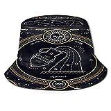 Yoliveya Sombrero de Pesca,Signo del Zodiaco Acuario Vintage Thin Line,Senderismo para Hombres y Mujeres al Aire Libre Sombrero de Cubo Sombrero para el Sol