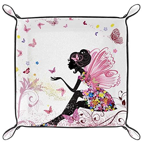Bandeja de cuero para guardar llaves, teléfono, moneda, cartera, relojes, etc., café, rosa mariposa vestido de flores