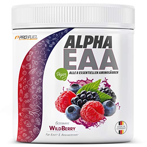 ALPHA EAA Pulver | Enthält 8 essentielle Aminosäuren | Vegan EAAs Aminosäuren Pulver | Amino Workout Drink | MADE IN GERMANY | Optimale Wertigkeit | Leckerer Geschmack (Wild Berry)