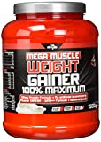 BWG Mega Muscle Weight Gainer 100% Maximum, Muscle Line, Mega Vanilla, Dose mit Dosierlöffel, 1er Pack (1 x 1500g)