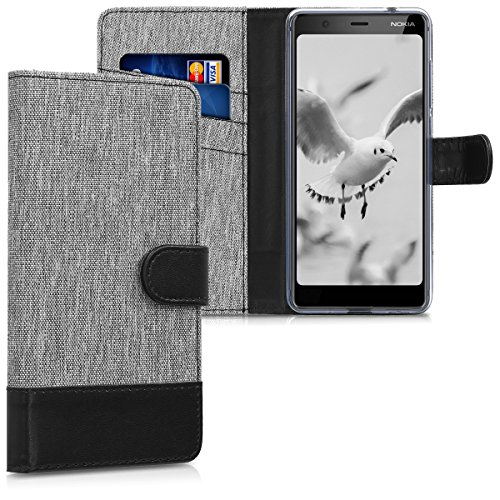 kwmobile Wallet Hülle kompatibel mit Nokia 5.1 (2018) - Hülle mit Ständer - Handyhülle Kartenfächer Grau Schwarz