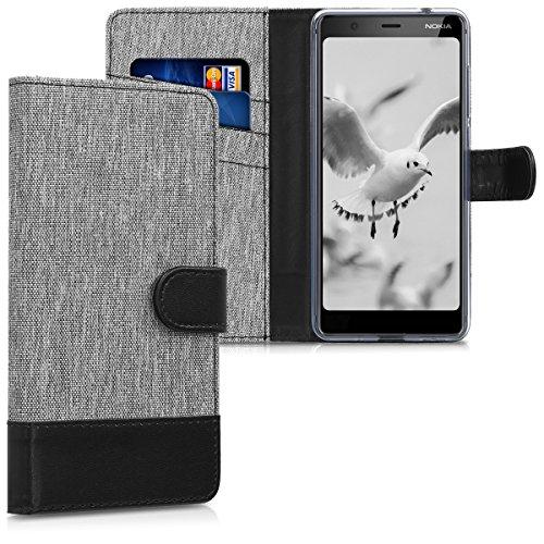 kwmobile Nokia 5.1 (2018) Custodia Portafoglio - Cover Porta Carte Tessuto Simil Pelle Stand per Nokia 5.1 (2018) - Case Magnetica