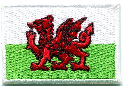 Flag of Wales Welsh red Dragon Celtic Goth United Kingdom UK England Embroidered Applique Iron-on Patch Size Small