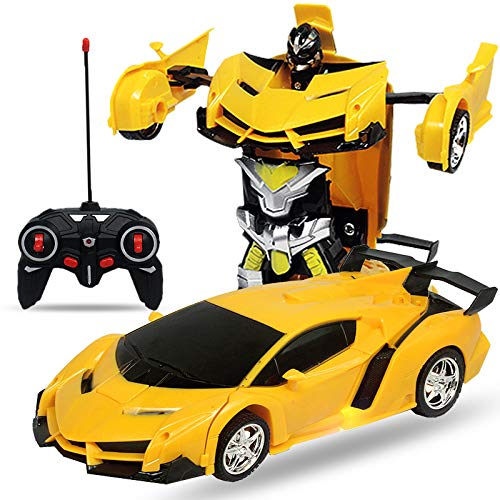 PrymeOne Remote Control Transforming Robot Car for Kids, RC Car 2.4G Robot Deformation Realistic...