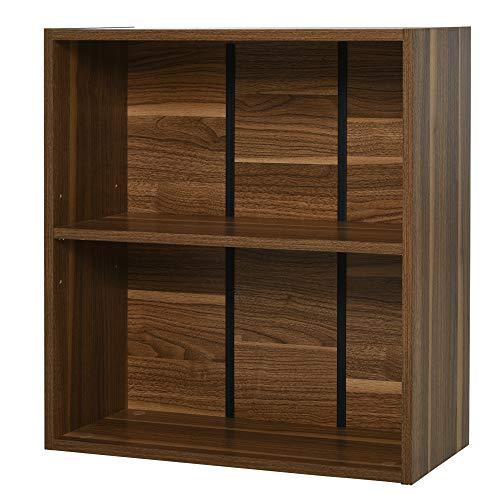 mobiletto bagno noce scuro homcom Libreria Mobiletto Armadietto 2 Ripiani Legno 60 × 24 × 63cm Noce