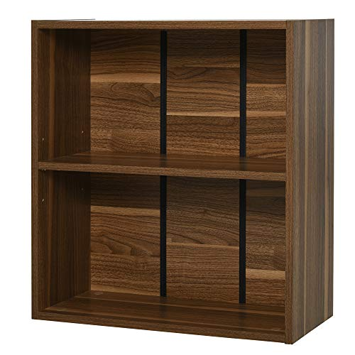 HOMCOM Wooden 2 Tier Storage Unit Shelf Bookshelf Bookcase Cupboard Cabinet Walnut