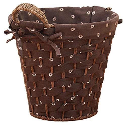 ZTMN Cesta de Basura Redonda de ratán, pequeñas cestas de Almacenamiento de Mimbre Tejidas, Papelera Decorativa Cuadrada con Revestimiento, Papelera de Reciclaje de Papelera de Oficina para cafet