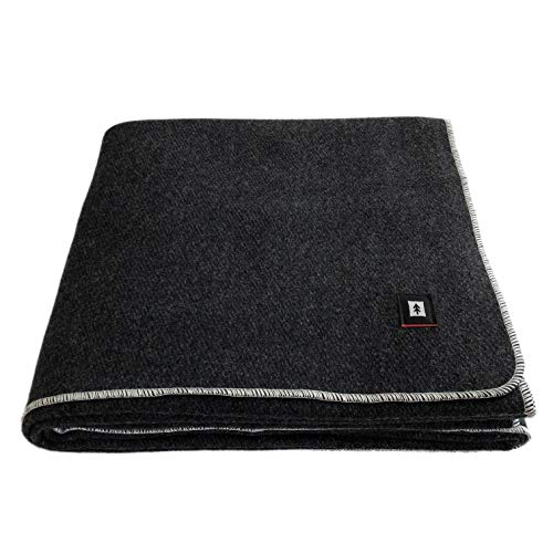EKTOS 100% Wool Blanket, Charcoal Grey, Warm & Heavy 5.0 lbs, Large Washable 66'x90' Size, Perfect for Outdoor Camping, Survival & Emergency Preparedness Use