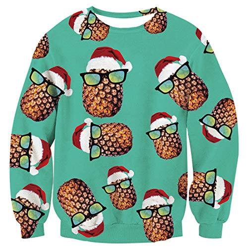 TUONROAD Sweatshirt Herren Lustig Ananas 3D Druck Weihnachtspullover Damen Komfortabel Hässliche Christmas Pullover Langarmshirt Rundhals Xmas Sweatshirt Sweater Jumper - L