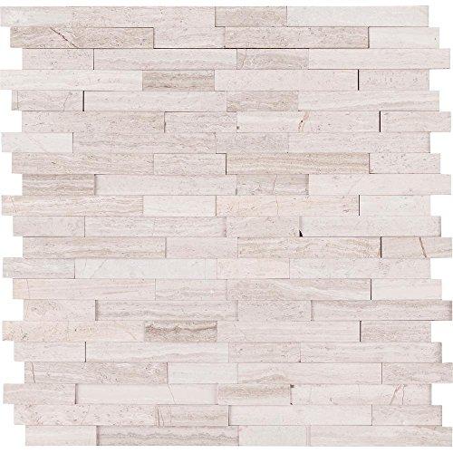 Vogue Peel & Stick Light Athens Gray Honed Brick Pattern Mosaics for Kitchen Backsplashes, Wall Fireplace Tile (5)