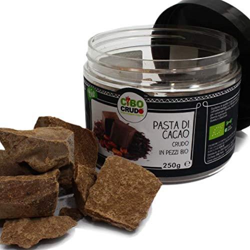 CiboCrudo Pasta di Cacao in Pezzi Biologica Cruda, Cioccolato Puro 100% - 250gr - Qualità Criollo, Cocoa Liquor Raw Organic, dalle Piantagioni Biologiche del Perù, Etichette in Italiano