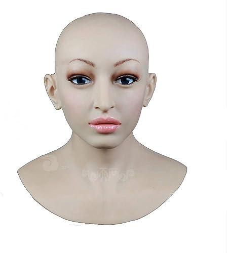 BZDJS Weißhe silikon realistische Dame Kopf Maske handgemachtes Gesicht für Crossdresser Transgender Cosplay Halloween Maskerade cos Transvestite