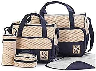 Multi-Function Mummy Bag Travel Backpack Large Capacity Diaper Bag Nappy Changing Pad Tote Set 5 Piece Set Void Print Mumm...