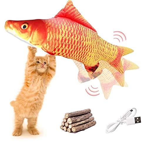 FINEVERNEK Juguetes para Gatos Eléctrico, Juguetes de Hierba gatera Movimiento eléctrico realistas, Juguete Pez Gato Interactivo, Carga USB, para Morder, Masticar y Patear 10PC Gatera Catnip Sticks