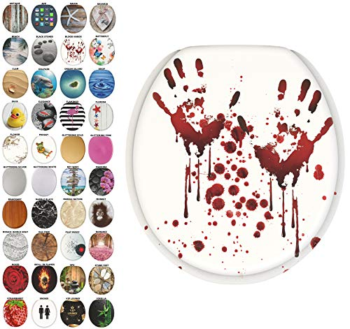 Sanilo Round Toilet Seat, Wide Choice of Slow Close Toilet Seats, Molded Wood, Strong Hinges (Blood Hands)