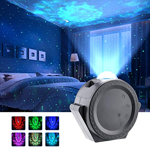 LED Sternenhimmel Projektor Lampe Projektionslampe mit Sprachsteuerungsfunktion Stern Mond/Wasserwellen-Welleneffekt/Nachtlicht für Kinder, Zimmer, Feiertage, Geburtstagsfeiern