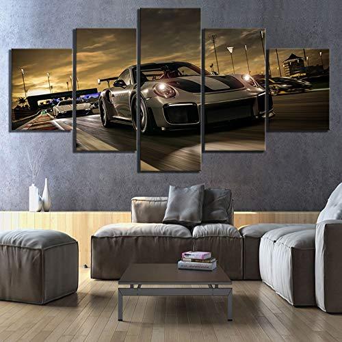 Decoración del hogar cuadros de pintura en lienzo 5 paneles Forza Motorsport 7 videojuego deportes de lujo impresiones artísticas de pared cartel modular dormitorio(With Frame size)