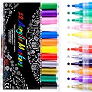 TABIGER Acrylstifte Marker Stifte, Acrylic Paint Maker Set Acrylfarben Wasserfest Marker Stift, 12 Farben, EN71, weit verbreitet auf der oberfläche von leinwand, Keramik, Holz Stein und so weiter