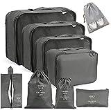 Voniry 8 Set Packing Cubes - Waterproof Mesh Compression Travel Luggage Packing Organizer