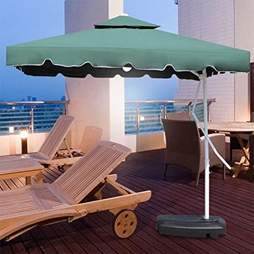 ZYFWBDZ Paraguas de Patio con compensación para Colgar, para Piscina, para Exteriores, para Uso en voladizo, para el Mercado, con manivela, Base Cruzada y Luces LED de energía Solar,Verde,2.2M