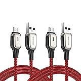 ZZL Cable de Cargador de Android 2 Pack Android USB A Micro USB Cable de Carga rápida Cordón de Datos de Nylon Compatible con Dispositivo de Interfaz Micro (Color : Red, tamaño : 1.2m)