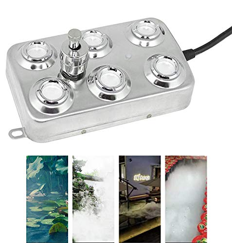 Mein LAY 6 Head Ultrasonic Mist Maker Fogger 200W 3KG/H Mist Maker Fogger Air Humidifier w/Transformer Accessories for Industrial Scenic Agriculture Greenhouse Hydroponics Garden/Lawn/Pond