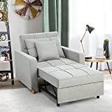 YODOLLA 3-in-1 Sofa Bed Chair, Convertible Sleeper Chair Bed,Adjust Backrest Into a Sofa,Lounger Chair,Single Bed,Modern Chair Bed Sleeper for Adults,Grey