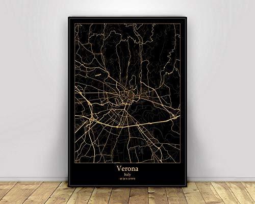 Impresiones Sobre Lienzo Verona Italia Negro Oro Ciudad Light Maps Personalizados Mapa De La Ciudad, Moderno Simple Imagen De Arte Retro Imagen Home Decoration, Para El Dormitorio De La Sala De Estar,