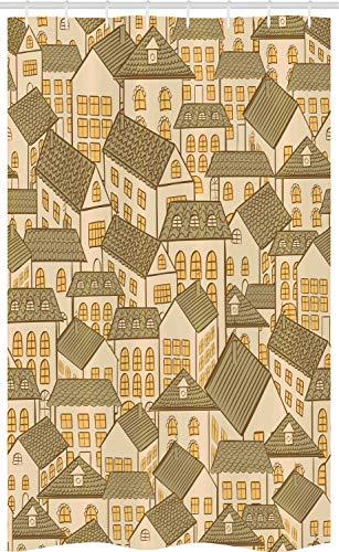 ABAKUHAUS retro Douchegordijn, Village Dorpshuizen Daken, voor Douchecabine Stoffen Badkamer Decoratie Set met Ophangringen, 120 x 180 cm, Reseda Groen Sand Brown