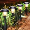 4 Pack Solar Pathway Lights, Stainless Steel, Solar Yard Lights Outdoor Warm White, Waterproof 8-16 Hours Long Last, Adjustable Solar Powered Garden Lights for Landscape, Pathway, Driveway, Walkway