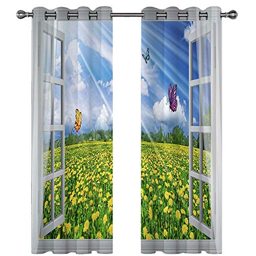 Michance 3D Digital Printing Curtain Suitable For Curtains Of Kitchen, Balcony, Bedroom No Perforated Curtain 2 Pieces