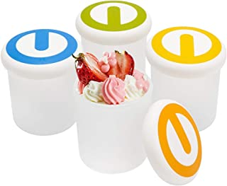 Ice Cream Containers 7 oz, Beasea 4pcs Ice Cream Yogurt Cups Ice Cream Freezer Containers with Lids, Reusable Frozen Desse...