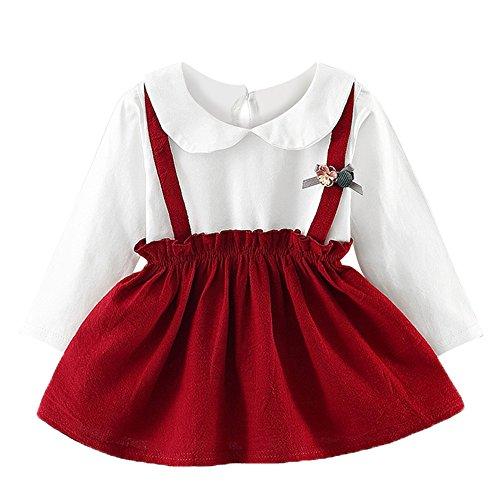 OverDose Damen 2018 Neugeborenen Baby Mädchen Cartoon Warme Prinzessin Liebhaber Print Kleid + Weste Outfits Kleidung Set(Y-Rot,6 Monate)