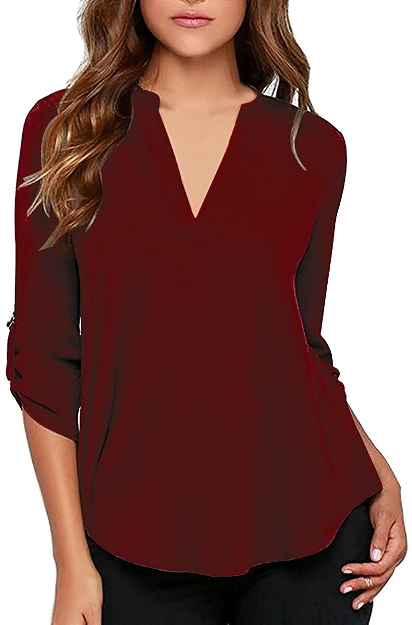 roswear Women's Casual V Neck Sleeves Blous Same day shipping Cuffed Ranking integrated 1st place Solid Chiffon