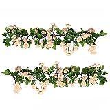 U'Artlines 1,85m Eucalyptus Artificielle Feuilles Guirlande Faux Soie Verdure Vigne Suspendus Plantes Swag pour La Maison Toile De Fond Décor De Table(Guirlande D'eucalyptus avec des Roses Blanches)