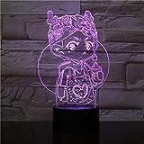 Lámpara de mesa 3D multicolor de dibujos animados lindo decoración de la habitación de los niños luz de noche LED de acrílico