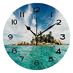 ALUONI Print Round Wall Clock, 10 Inch St Pierre Island Seychelles Quiet Desk Clock for Home,Office,School IS110861