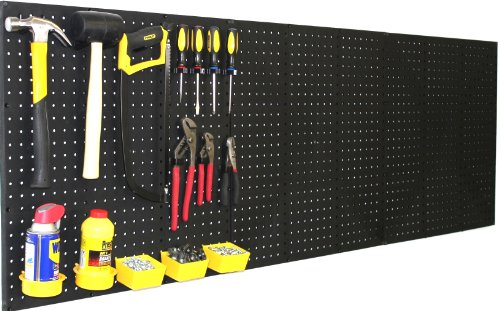 "WallPeg (4) Black Plastic Pegboard Panels – 96"" Wide Garage Tool Pegboard – AM 212"