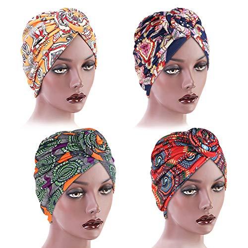 Afrikanische Muster Kopfbedeckung, 4 Stück Afrikanischen Stirnband Haarschmuck für Damen, Afrikanischer Turban für Damen Vorgebunden Blumenknoten Kopftuch