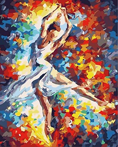 Schilderen op nummer-kits voor volwassenen en kinderen Mooie ballerina DIY olieverfschilderij met penseel en schilderij decoratie voor thuis - 40 x 50 cm zonder lijst