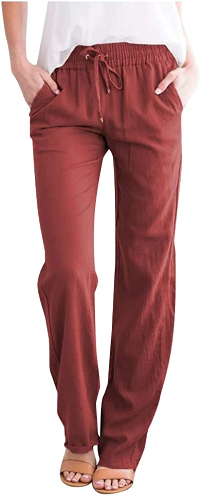 JPLZi Women's Cotton Linen Pants Drawstring Elastic Waist Side Pockets high Rise Casual Loose Trousers Pants with Pockets