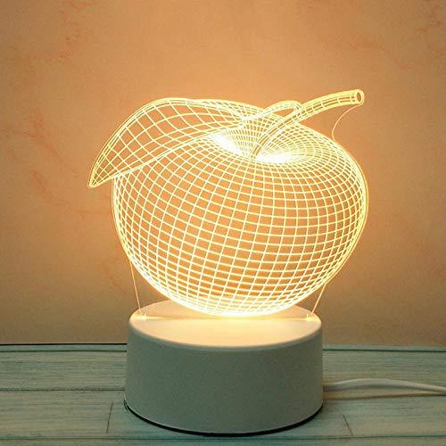Tatapai Luces nocturnas 3D creativas estéreo, lámpara de mesa de amor, padres, enchufe, DIY dibujos animados, enchufe de tres colores Light_Apple